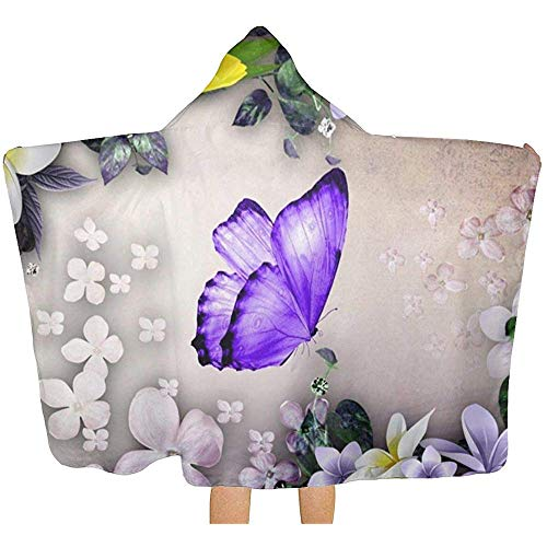 Wen-shop Lila Schmetterling Lili Blume Kinder mit Kapuze Badetuch super weiche Kinder Poncho Schwimmen Mädchen Jungen