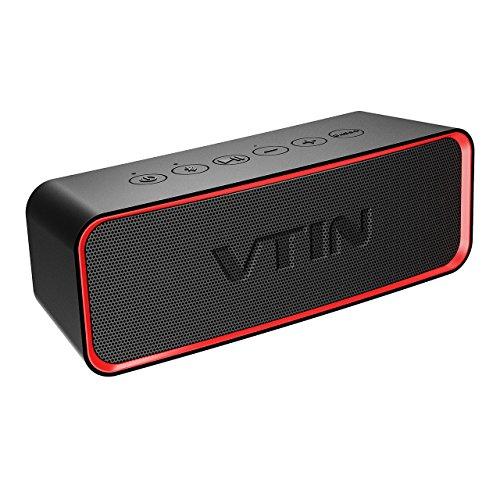 Mobiler Bluetooth Lautsprecher, VTIN Wireless Speaker Musikbox mit Exklusive Bass +, IPX6 Wasserdicht, Dual-Treiber, 12 Stunden Spielzeit, 10m Reichweite und eingebautem Mikrofon, Tragbar Kabellos Lautsprecher für iPhone, Samsung usw.(Schwarz)