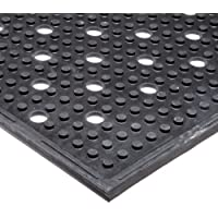 """NoTrax T23 General Purpose Rubber Multi-Mat II Safety/Anti-Fatigue Mat, for Wet or Greasy Areas, 3' Width x 4' Length x 3/8"""" Thickness, Black by NoTrax"""