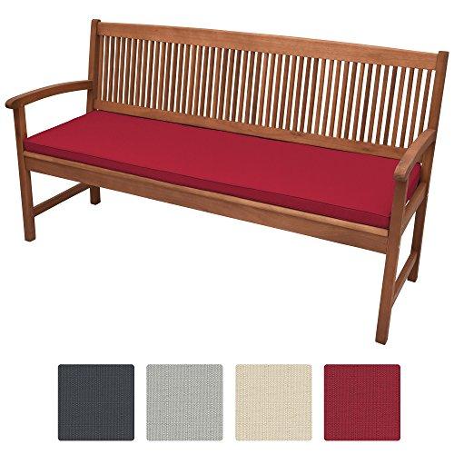 Beautissu Bankauflage Base BK ca. 120x48x5 cm bequeme Polster für Garten-Bank mit abnehmbarem Bezug in Rot