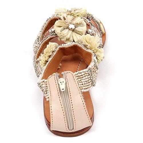 ... D0706 sandalo donna MALIPARMI POM POM BEADS infradito beige shoe woman  Beige 339e926af9c