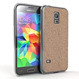 EAZY CASE Hülle für Samsung Galaxy S5 Mini Schutzhülle mit Glitzerrückseite, Ultra dünn I Silikon Slimcover, Handyhülle, TPU Hülle/Soft Case, Silikonhülle, Backcover Quartz Design, Champagner