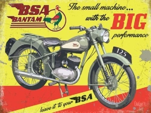 bsa-bantam-motor-cycle-bike-in-green-grey-on-yellow-back-ground-old-vintage-advert-for-house-home-ba