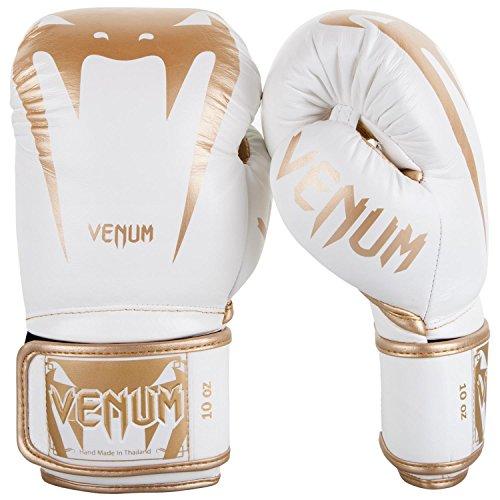 Venum Giant 3.0, Guantoni da Boxe Muay Thai Kick Boxing, Unisex - Adulto, Bianco/Oro, 10 Oz