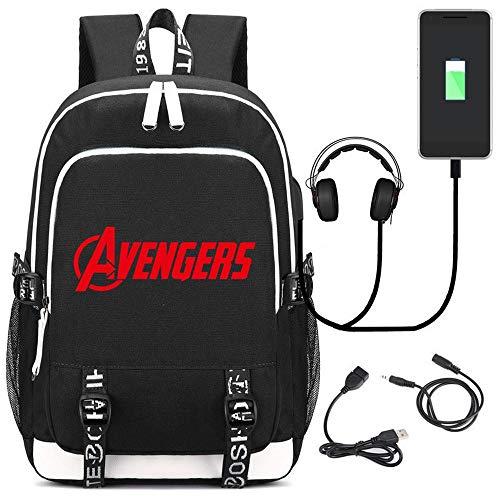 RGLIN Superheld Marvel Rucksack Computer Tasche Reisetasche USB-Laderucksack Student Rucksack Black (Superhelden Weibliche Marvel)