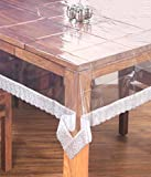 #9: Kuber Industries Dining Table Cover Transparent 6 Seater 60*90 Inches (White Lace)