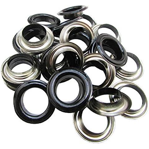 Amanaote 25 mm diámetro del orificio interior de esmalte negro con ojales ojal arandela de 50 unidades de respaldo