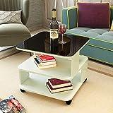 5 IN 1 TABLE XIAOYAN Beistelltisch Sofa Beistelltisch Wohnzimmer Schreibtisch Wein Tisch Gehärtetem Glas Abnehmbarer Couchtisch, Licht Nussbaum Mehrzweck (Farbe : White+Glass, größe : L50*W50CM)