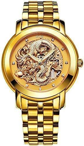 Angela Bos - Reloj mecánico para hombres, diseño de dragón chino, resistente al agua, banda de acero inoxidable