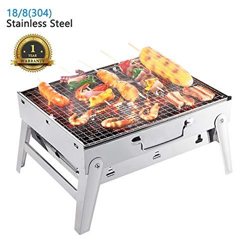 Overmont bbq grill griglia pieghevole fornello barbecue grill a carbonella portatile di acciaio inossidabile per picnic campeggio