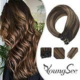 YoungSee Clip in Extensions Echthaar 50 cm Braun Balayage Farbe #2 Dunkelstes Braun mit #6 Mittel Braun Clip in Haarverlängerung für Komplette 120g 7 Tressen