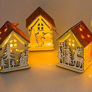 FafSgwq Madera 3D Casa Luz Colgante Lámpara De Mesa Árbol De Navidad Adorno Colgante Artes Decoración Niños Jardín Ventana Ambiente Festivo De Halloween Y Navidad