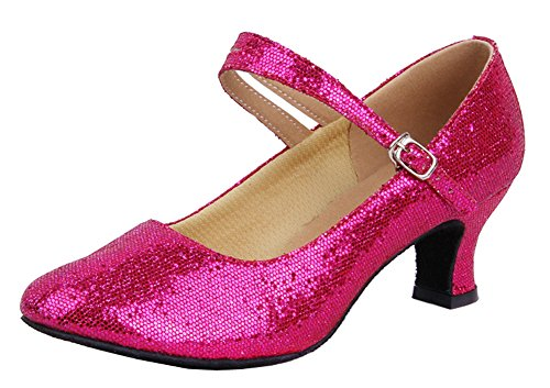 Honeystore Damen's Weicher Boden Mary Jane Glitter Tanzschuhe Fuchsie 38.5 (Rosa Jane Mary Glitter Schuhe)