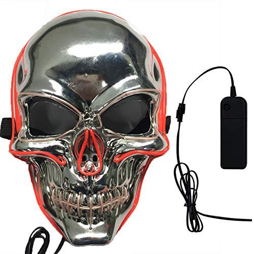 (REFRIY Halloween Maske, LED Glowing Purge Wahl Kaltlicht, Horror Schädel Maske Maskerade Makeup Party Festival Cosplay Kostüm (Versilberung),Silver)
