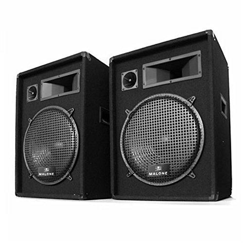 Paar Malone 2x PW-1522 3-Wege Box Lautsprecher 38cm 1600W