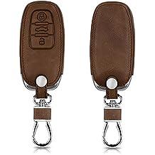 kwmobile Funda de cuero sintético para llave Keyless de 3 botones para coche Audi - Cover protector en marrón oscuro Case para llave
