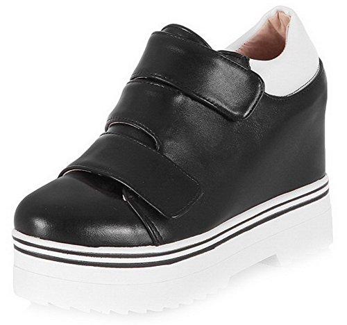 VogueZone009 Femme Rond à Talon Haut Matière Mélangee Couleur Unie Velcro Chaussures Légeres Noir
