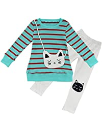 YiZYiF Baby Girls 2PCS Cat Bag Striped Outfit Winter Clothes Top Leggings Trousers Set 3-8 Years