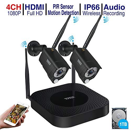 Tonton WLAN Überwachungskamera Set, 4ch 1080P NVR-Videoüberwachungs Sets mit 2Stk 2MP Überwachungskamera DIY-Setup Wetterfeste Kostenlose APP-Fernbedienung Audioaufnahme PIR Bewegungsmelder 500GB -
