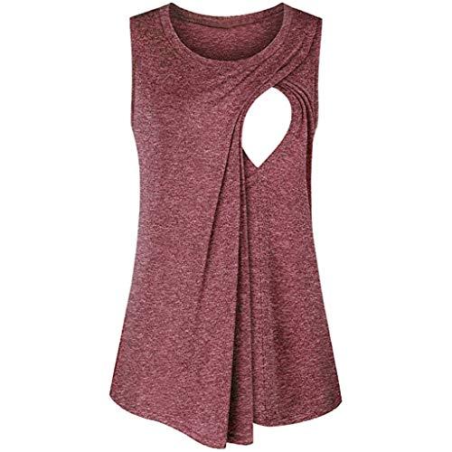 Mymyguoe Damen Tops Schwangere Still-Shirt Streifen T-Shirt Bluse Super Gemütlich Stillshirt Mutterschaft Umstandstop Oberteil Damen Ärmellos Umstands Tshirt Umstandsmode (Krankenpflege Gestreifte Kostüme)