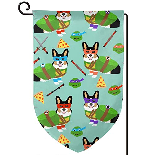 vintage cap tri Corgi Ninja Turtle Dog Dogs Cartoon Polyester Garden Flag House Banner 12.5 x 18 inch, Two Sided Welcome Yard Decoration Flag for Wedding Party Home Decor