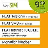 winSIM LTE All 10 GB Allnet Flat - monatlich kündbar (FLAT Internet 10 GB LTE mit max. 50 MBit/s mit deaktiverbarer Datenautomatik, FLAT Telefonie, FLAT SMS und EU-Ausland 9,99 Euro/Monat)