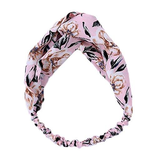 weimay Frauen Umhängetasche Floral geknotet elastisch Head Wrap Stretchy Hair Band Zubehör (weiß) 10.24*2.76inches Rosa (Floral Umhängetasche)