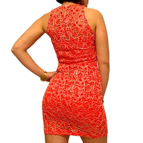 ABILIO - vestito donna tubino nero pizzo abito rosso vestitino pizzo abiti eleganti Rosso
