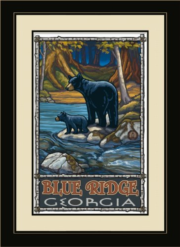 Northwest Art Mall PAL-0446 FGDM BIS Blue Ridge Georgia Bears in Stream, gerahmt, von Künstler Paul A. Lanquist, 40,6 x 55,9 cm