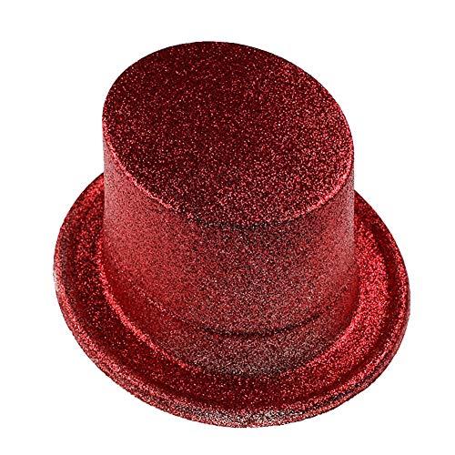 FXXUK Glitter Kostüm Hut Kunststoff Jazz Top Hut Unisex Headwear Zubehör für Halloween Kostüme Stage Show Dance Show,Rot,9PCS