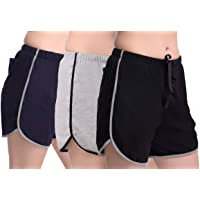 Elabana Women's Cotton Shorts Pack of 3 (Blue, Black, Grey)