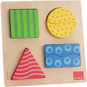 Goula - 55126 - Jouet en Bois - Eveil - Puzzle - 4 Formes Géométriques