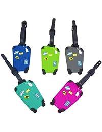 Alohallo Etiquetas de equipaje patrón colorido sostenedor de la identificación Tarjeta de visita de goma etiquetas para equipaje equipaje de viaje Identificador maleta etiqueta - 5 pieza en 1