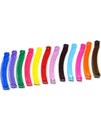 Anokhi ADA Solid Multi-color Translucent Small Plastic Banana Clip for Girls and Women (Combo of 12 Multi-colour Clips) (HJB-1010)