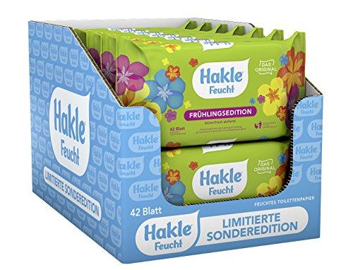 Hakle Feucht Design-Sonderedition im 12er-Pack (12 x 42 Blatt), pflegendes feuchtes Toilettenpapier, hautverträgliche feuchte Tücher, schnell wasserlösliche Feuchttücher