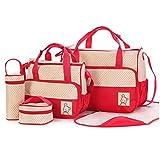5tlg Babytasche Multifunktionale wasserdichte Mamabeutel Kinderwagen Muttertasche Babytasche Mama Tote Baby Wickeltaschen (tiefes Rot)