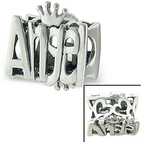 """Silvadore-Perline in argento intagliato, motivo: """"Angel"""", con Mini cuore, corona, Regina di principessa Sterling 925, con ciondolo a 700-Braccialetto Pandora europea in confezione regalo"""