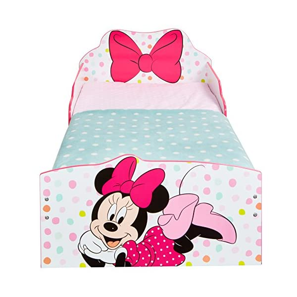 Hello Home Minnie Mouse Toddler Bed with Underbed Storage, Wood, White, 142 x 77 x 63 cm  Perfect for transitioning your little one from cot to first big bed The perfect size for toddlers, low to the ground with protective side guards to keep your little one safe and snug Two handy underbed, fabric storage drawers 8