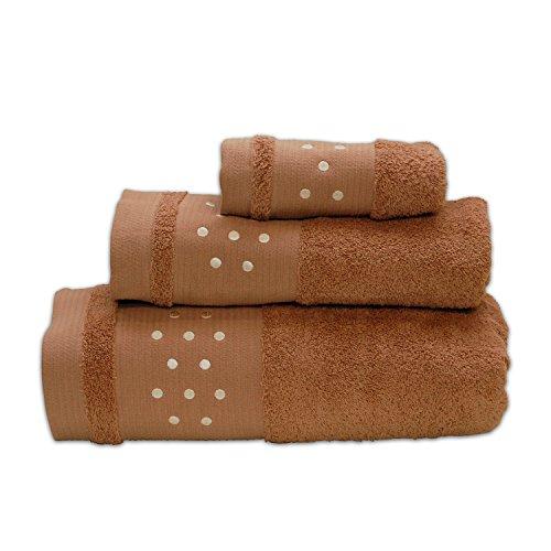 Lunares Toallas De Baño De–Juego de 3piezas–Toalla de mano, toalla de baño (+ + toalla para la cara (–Marrón W/Beige