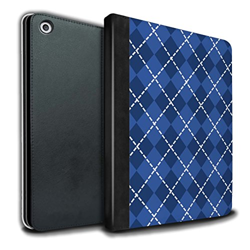 Stuff4® PU-Leder Hülle/Case/Brieftasche für Apple iPad 9.7 (2017) Tablet/Winter Argyle Muster/Blau Mode Kollektion Argyle Apple