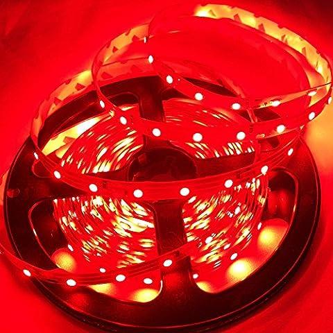 Goeswell interiores flexibles 12V LED Franja, rojo, 300 unidades 3528, no a prueba de agua, tiras de luz, Paquete de 16.4 pies