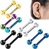 5 Paare Stainless Steel Huggie Ohrringe Hinged Hoop Earrings Small Huggie Earrings Earring Hypoallergenic Stud Earring Herren Edelstahl Ohrstecker Silber schwarz Hoop Huggie Ohrringe