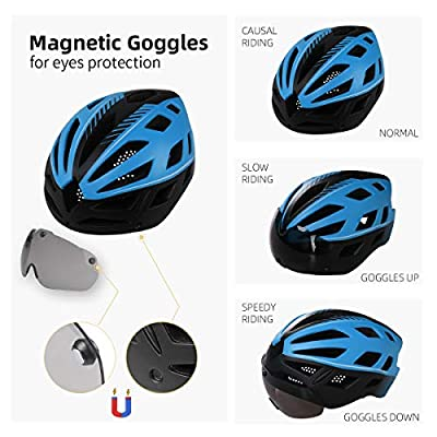 X-TIGER Cycle Bike Helmet with Detachable Magnetic Goggles Visor Shield BMX Mountain Road Bicycle MTB Helmets Adjustable Cycling Bicycle Helmets for Adult Men&Women Outdoor Sport CE Certified by X-TIGER