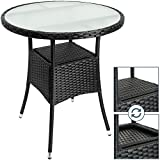 Deuba Polyrattan Tisch rund Ø 60cm schwarz Beistelltisch Rattan Gartentisch Garten Möbel
