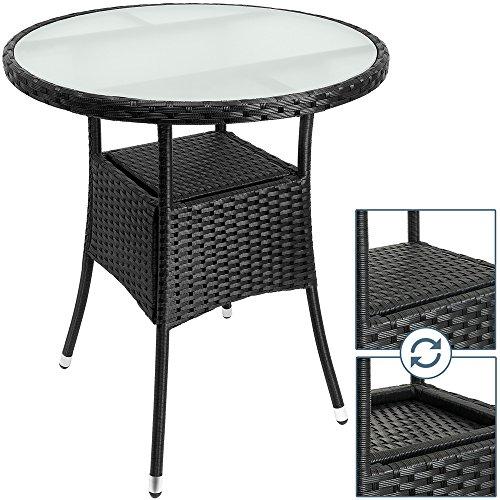 Polyrattan Tisch rund Ø 60cm schwarz Beistelltisch Rattan Gartentisch Garten Möbel