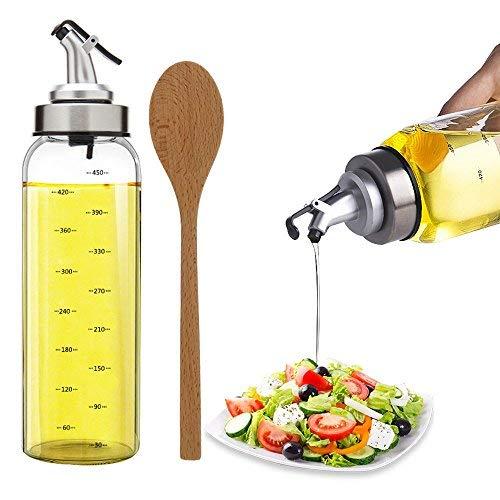 TIMGOU 500ml Olivenöl Dispenser mit Einem 23,5cm Holz Salatlöffel, bleifreie Glasflasche Ölbehälter Kein Tropfenausgießer für Salat Dressing Cruets für Balsamico-Essig, Sojasauce (Holz-essig)
