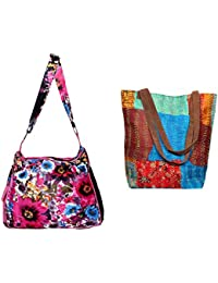 Indistar Combo Pack Of 1 Silk Kantha Tote Bag And 1 Cotton Shopper Bag (Pack Of 2) - B076T767MJ