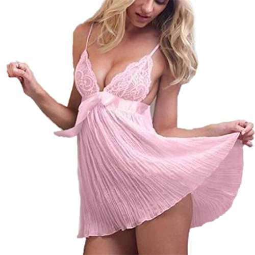Reizwäsche Damen Btruely Sexy Negligee Offene-Vorne Lingerie Spitze Dessous mit G-String Uniform Versuchung Unterwäsche (L, Rosa) (Vintage-nachthemd Fantastische)