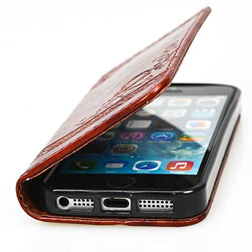 Nnopbeclik Apple iphone 5 / 5S /SE Hülle, iphone 5S / 5 Case, Slim Retro und Blume PU Leder Handyhülle Tasche Flip Wallet Case mit Strap Portable Handytasche Anti-Scratch Shell Cash Pouch ID Card Slot Deep Brown