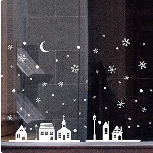 Strung Weihnachts Schaufenster Dekoration Wandaufkleber Weihnachten Wandsticker Wandtattoo Schneeflocken Stadt Wand Spruch Kinderzimmer Baby Mädchen Jungen